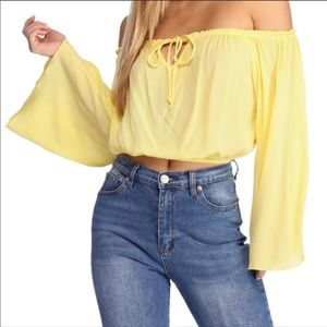Windsor flirty cropped bell sleeve top Small